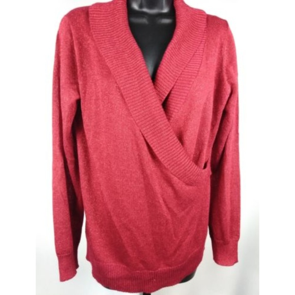 Red Sparkle Wrap V-Neck Long Sleeve Sweater 5a2ae0416